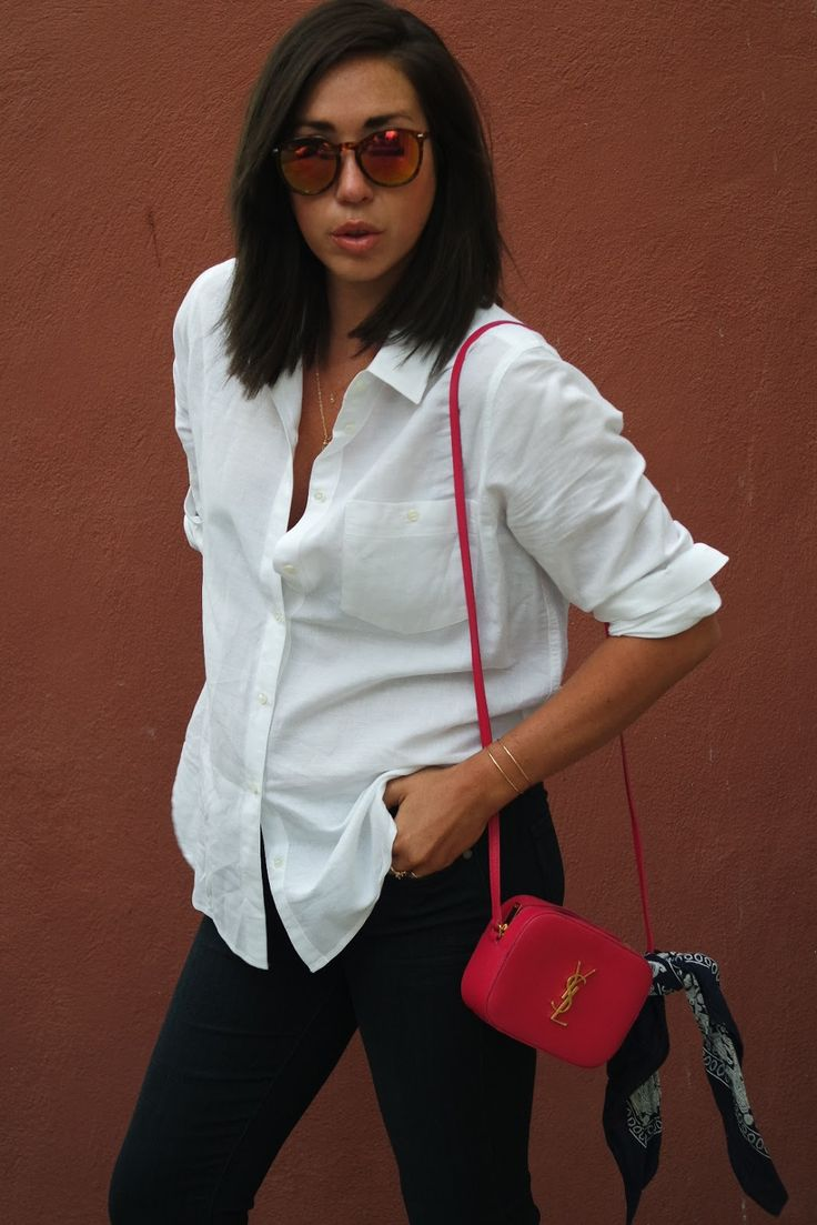 Classic white buttondown + YSL Camera Bag + Delicate Gold ...