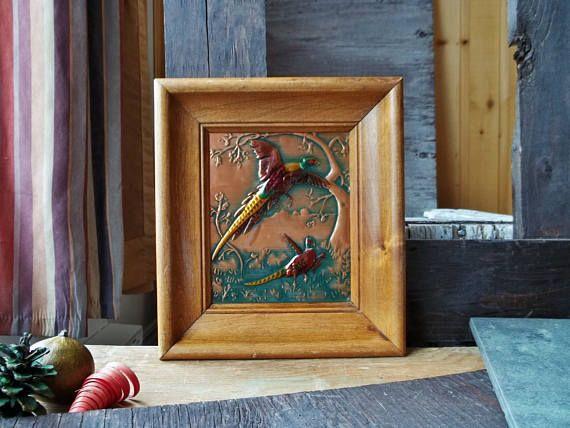 Vintage Handmade Copper Wood Frame Birds Pheasant Metal Framework Wall Decor Hanging Engraved Frames Bronze Red Tones Made In USA California