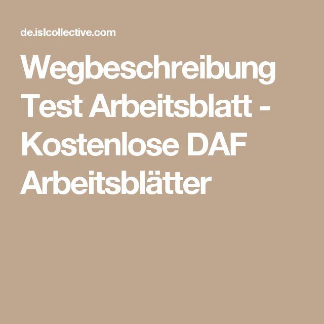 Wegbeschreibung Test Arbeitsblatt - Kostenlose DAF Arbeitsblätter