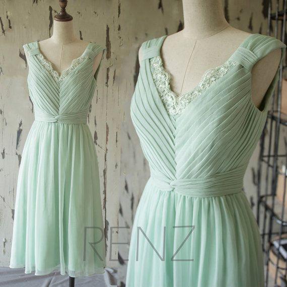 2015 Lace Chiffon Formal Bridesmaid dress, Dusty Shale Wedding dress, Short Lace Formal dress, Prom dress, Party dress knee length (F146)