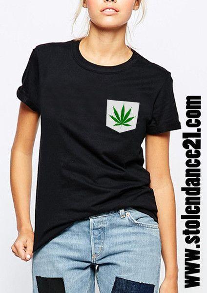 Cannabis Weed Marijuana Real Pocket Tee Crew Neck Top T shirt code50613