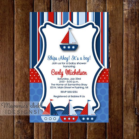 Ships Ahoy Sailboat Baby Shower Sailboat Invite by MommiesInk