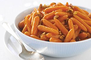 This recipe uses packaged baby carrots to save time peeling and chopping.