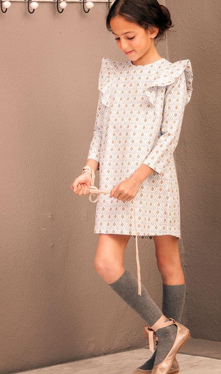 Vestido trapecio rombos azul - Petritas.  CLOTINA Moda Infantil.