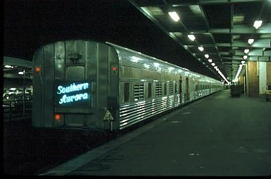 """The """"Southern Aurora"""" at Spencer Street Station."""