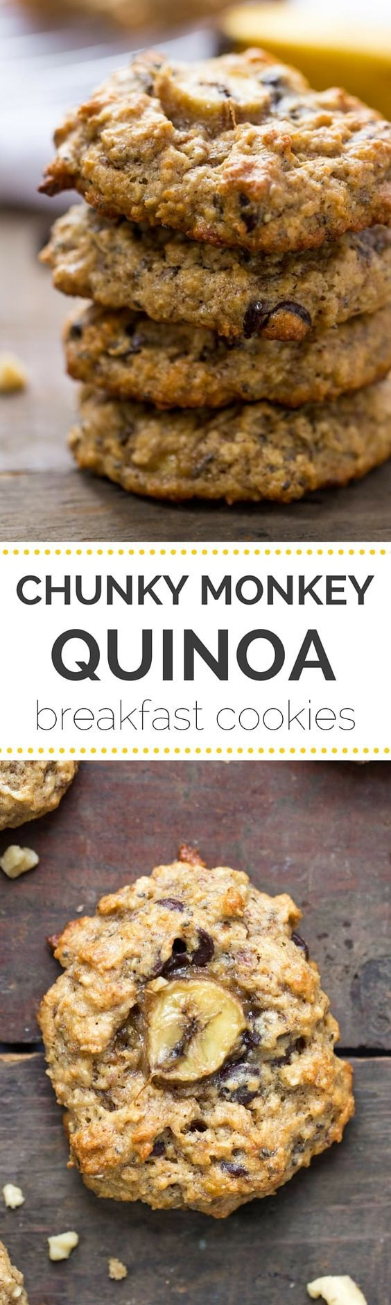 Chunky Monkey Quinoa Breakfast Cookies - These AMAZING chunky monkey quinoa breakfast cookies have banana, peanut butter and chocolate chips and they're actually HEALTHY.
