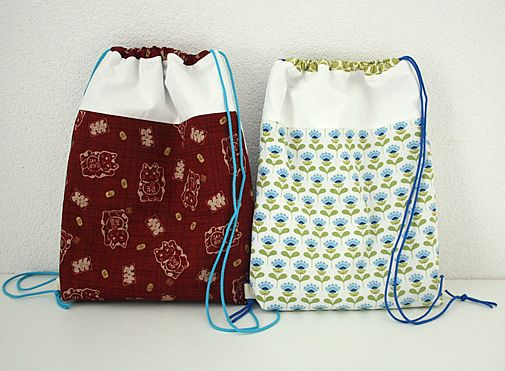 Drawstring backpack - Happy in Red - tutorial