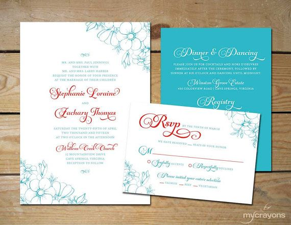 21 best AquaRed Wedding Ideas images – Tiffany Blue and Red Wedding Invitations