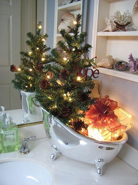 Ideas para Decorar el Baño en Navidad Navidad Pinterest Como - decoracion navidea para exteriores de casas