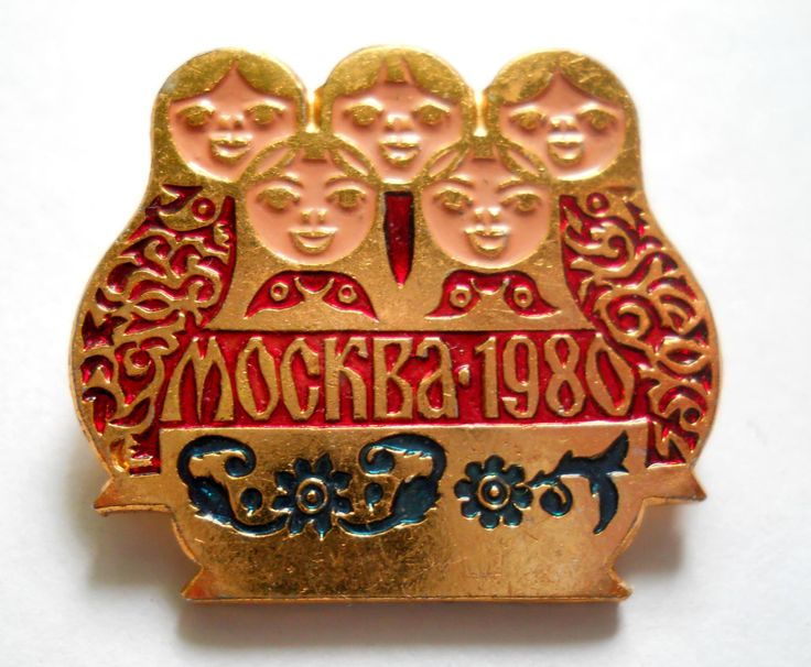 Matrioshka Pin, Moscow 1980, Olympic Games Badge, Vintage USSR Rare Soviet metal collectible Pins by LucyMarket on Etsy