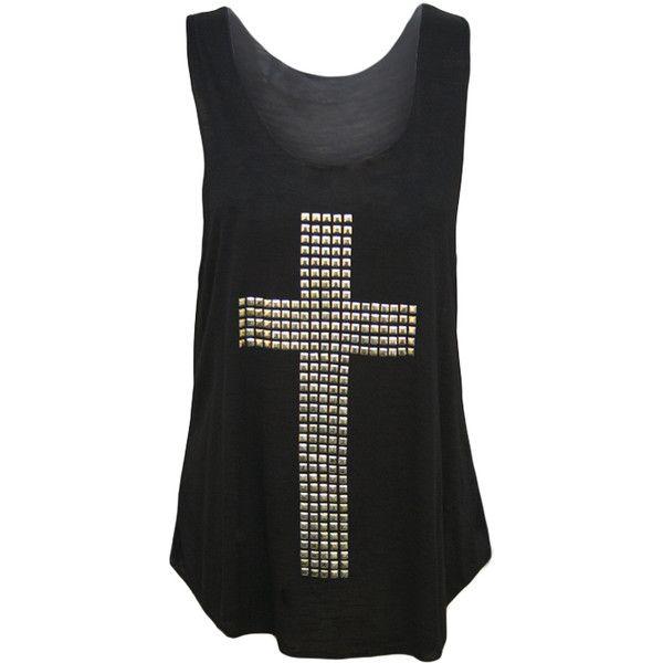 T-shirt sans manche femme top blanc noir croix clou pique taille 36 42... ❤ liked on Polyvore featuring tops, shirts, tank tops, blusas, blanc noir, pique shirt, shirt top and chemise shirt