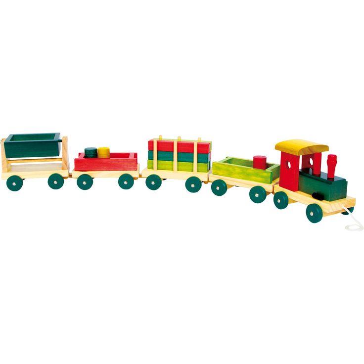 Trenulețul de lemn este jucăria ideală pentru copii pasionați de mașinuțe dar mai ales de construit. Trenulețul dispune de 4 remorci stabile și blocuri colorate din lemn lăcuit, gata pentru a ajunge la destinație. #woodentoys #woodentrain #jucariidinlemn #jucariionline #colorfultoys