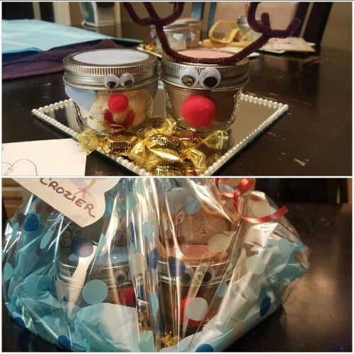 DIY teachers Christmas gift. Hot chocolate reindeer, marshmallow snowman on a dollar store mirror plate add some candy dress up the wrapping and done!