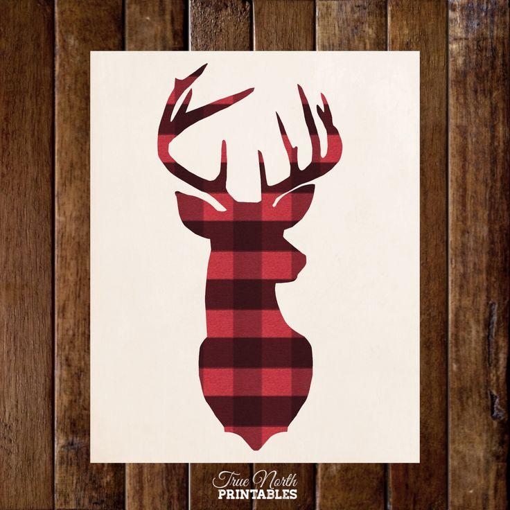 Deer Head Antler in Buffalo Plaid - Woodland Buck Wall Art - Country Rustic Lumberjack Print - Cabin Man Cave Wilderness Home Decor -.