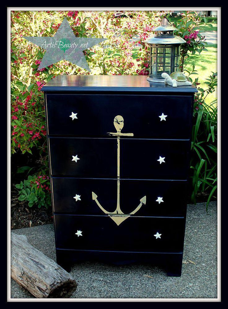 Hometalk | Vintage ANCHOR Nautical COASTAL Dresser MAKEOVER