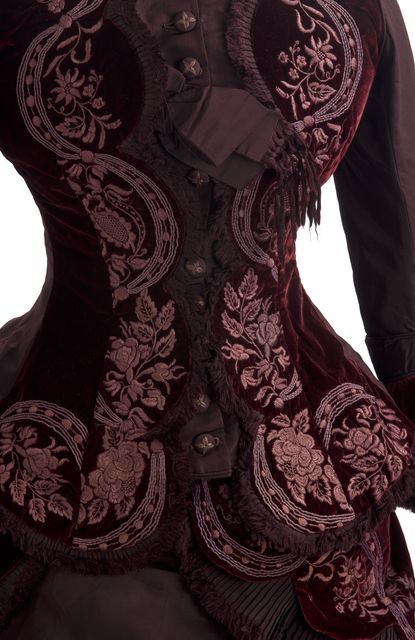 Victorian reception dress, 1877. Deep red velvet with embroidery. From the Minnesota Historical Society