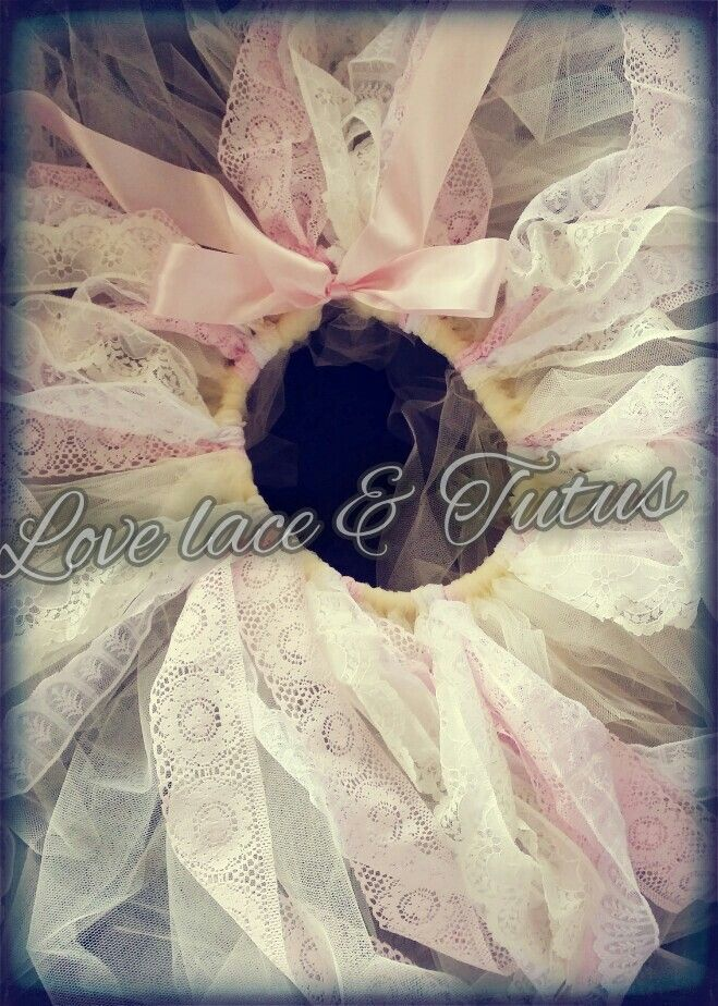 Lace tutu in ivory pink and white - handmade