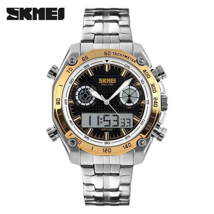 Jam Tangan Pria SKMEI Dual Time Casual Men Stainless Original AD1204 Gold