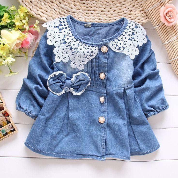 Denim Jeans Lace Bow Coat Jacket Outwear - FashionandLove.com