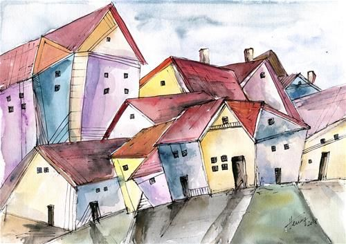 """Daily+Paintworks+-+""""Houses+on+the+lane""""+-+Original+Fine+Art+for+Sale+-+©+Aniko+Hencz"""