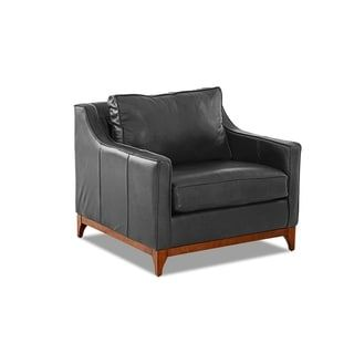 Ansley Wood Base Accent Chair By Avenue 405 Leather