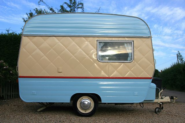 Little Pip 1 - vintage caravan . . . could go the turquoise and then a touch of red outside!