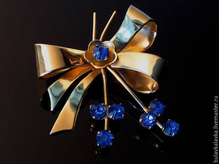 Купить Coro Винтажная брошь Бант с кристаллами - золотой, винтажные украшения, винтажные броши