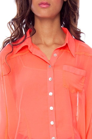 Coral 3/4 sleeve button up