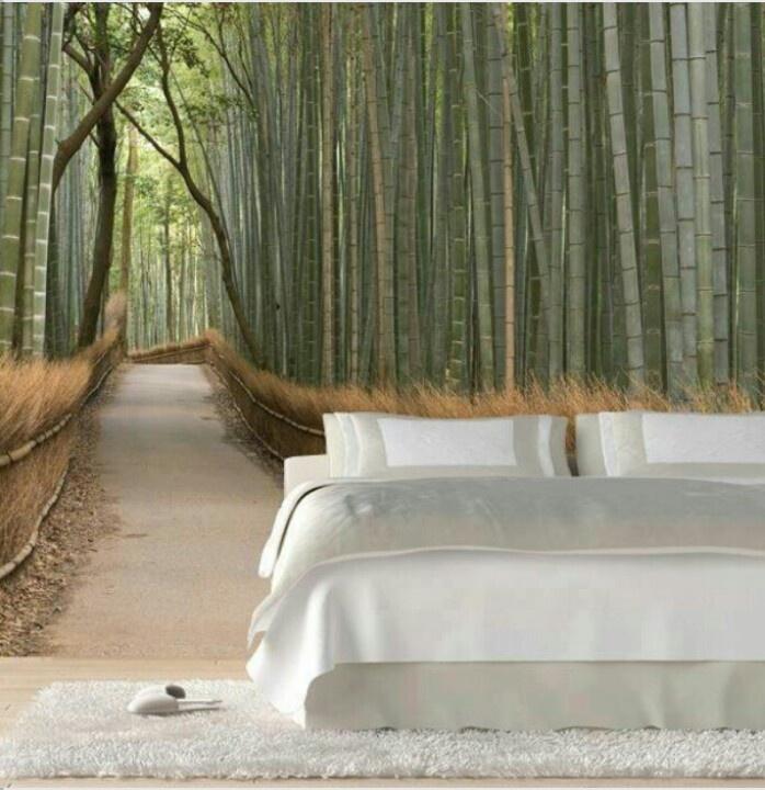 Bamboo Grove Wall Mural On Bedroom Wall.