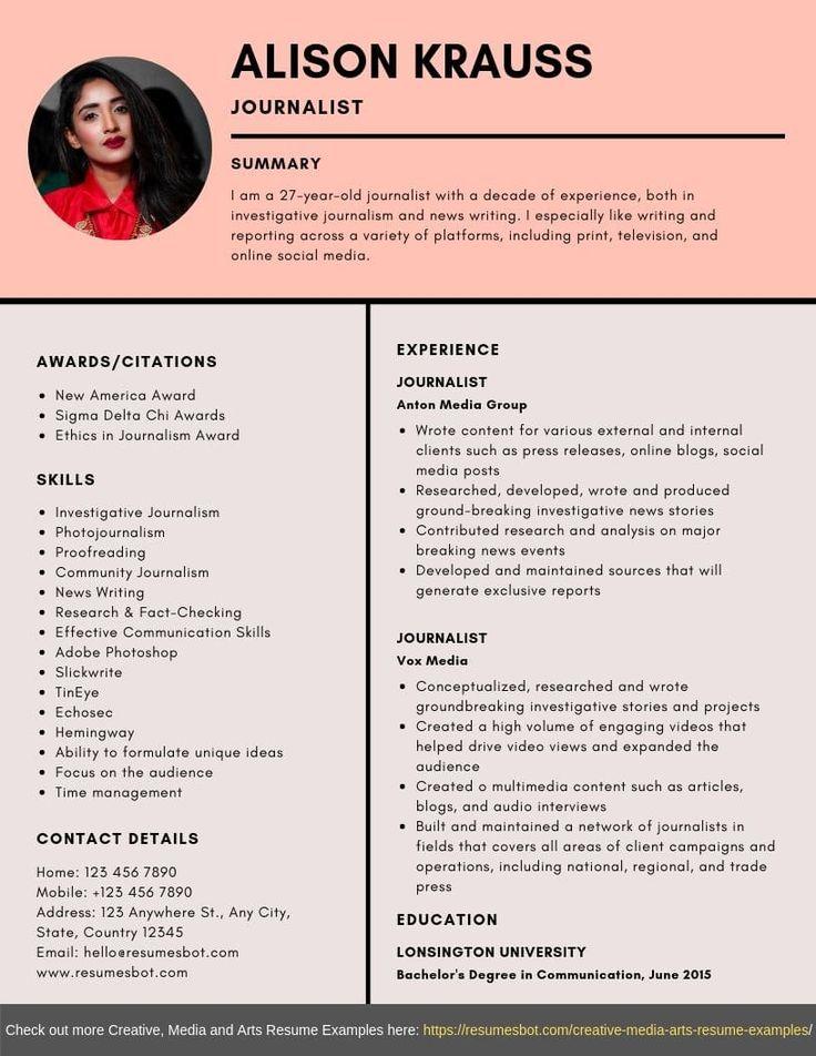 Journalist Resume Samples Templates Pdf Doc 2021 Journalist Resumes Bot Resume Examples Professional Resume Examples Resume