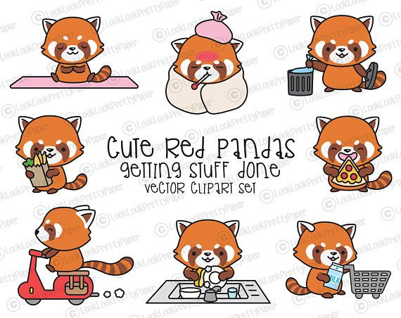 Premie Vector Clipart - Kawaii rode panda's - schattige rode panda's Planning Clipart - Instant Download - Kawaii Clipart