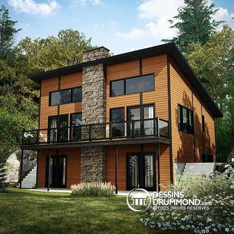 CHALET DE SKI MODERNE RUSTIQUE  3 chambres, deux salles familiales, rangement skis & planches   http://www.dessinsdrummond.com/detail-plan-de-maison/info/dahilia-chalet-1003168.html