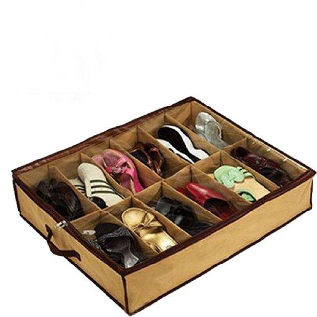Новый дешевый 12 пара ткань ткань обувь для хранения организатор держатель обуви органайзер Box шкаф бесплатная доставка