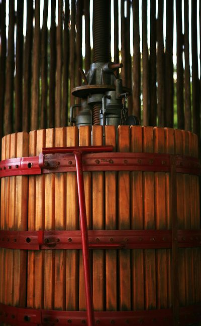 An old wine press in the cellar of Arendsig vineyards in Robertson, South Africa (2006). Credit: Krista Kennell Photography