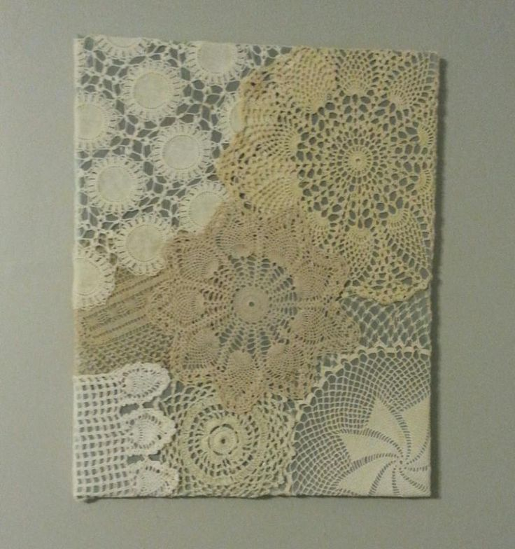 Crochet Wall Art - with crocheted doilies - love the different colours!
