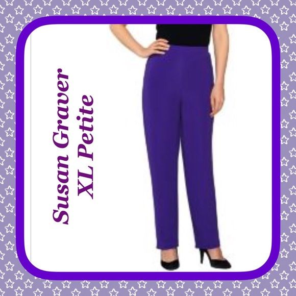 "SUSAN GRAVER Luster Knit Pull On Pants, XL PETITE SUSAN GRAVER Luster Knit Pull On Pants PURPLESIZE XL PETITE  RETAIL $48  A Relaxed feel looks great with these petite pull-on pants. The Lustra Knit(R) fabric has an easy drape that flatters the body. From Susan Graver.  Full elastic waistband, straight hem PXL(18-20) Relaxed fit; above the waist; straight leg;  Inseam measures 27-1/2"" 92% nylon/8% spandex Machine wash, tumble dry Made in USA of imported fabric Susan Graver Pants Straight Leg"