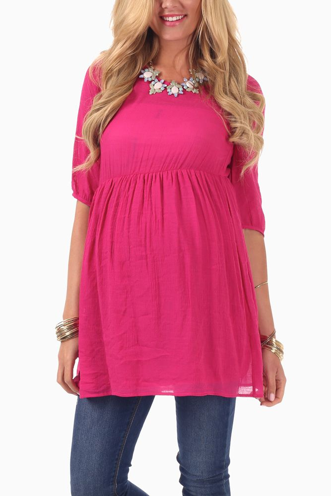 Fuchsia-3/4-Sleeve-Maternity-Tunic $29 Great site for inexpensive maternity clothes