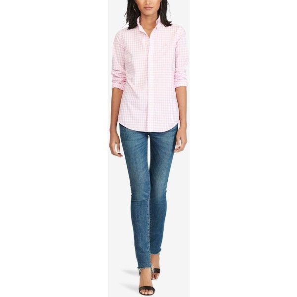 Polo Ralph Lauren Slim-Fit Gingham Poplin Shirt ($99) ❤ liked on Polyvore featuring tops, pink white, white top, polo ralph lauren shirts, slim fit poplin shirt, preppy shirts and white poplin shirt