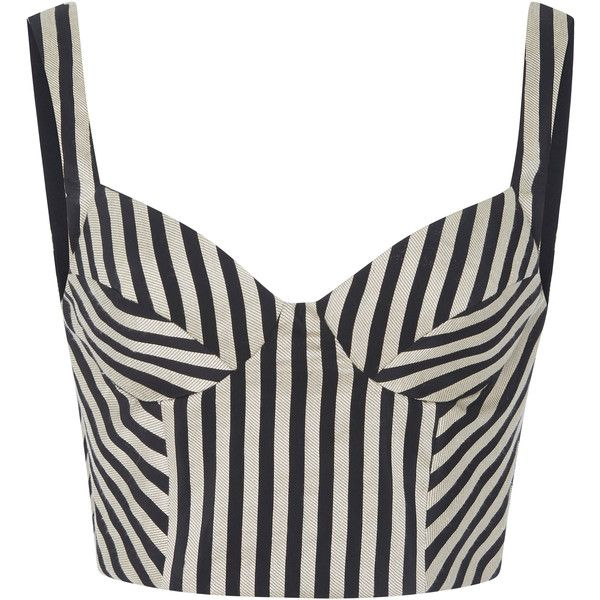 Bibhu Mohapatra     Striped Bustier (1,145 CAD) ❤ liked on Polyvore featuring tops, stripe, sweetheart neckline top, stripe top, white sweetheart top, strappy top and striped crop top
