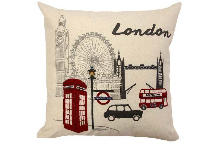 "Landmark Cushion Embroidered landmarks 18 x 18"""