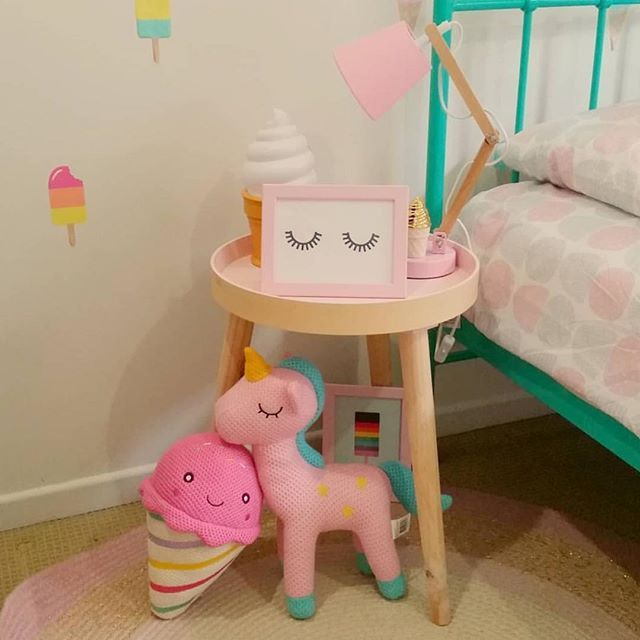What a stunning space by @missnick_ featuring the new woven ice cream which looks so cute next to the unicorn, the ombré jute rug, Stockholm table, ice cream nightlight, bedside lamp and Greta bed cover set - picture perfect Thanks for letting me share #kmartkidz #kmartau #kmartaus #kmartaustralia #kmartkids #kmartstyling