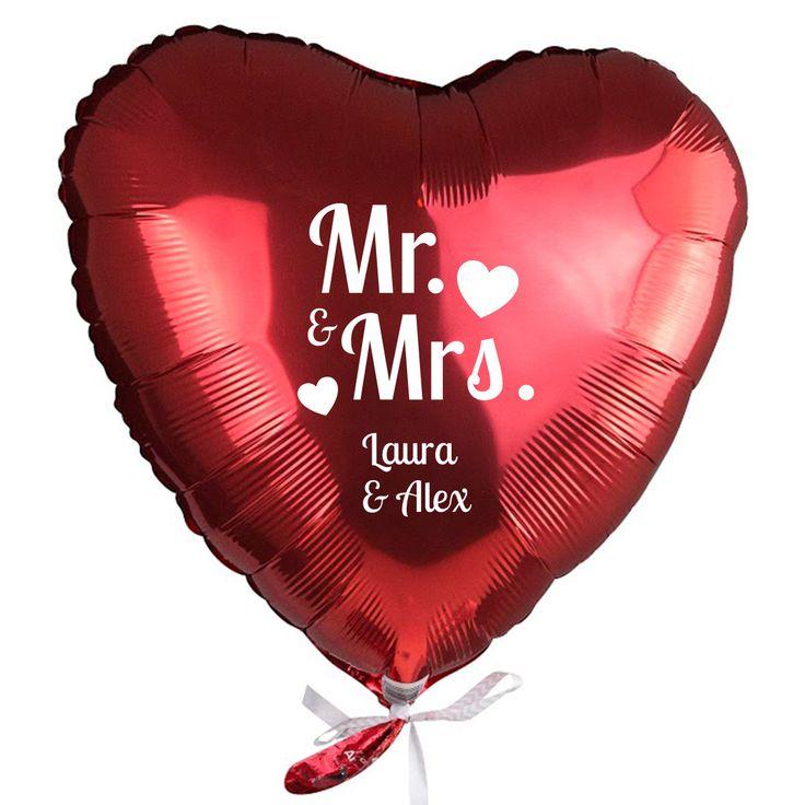 """Helium-Luftballon """"Mr. & Mrs."""" mit Namen"""
