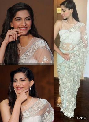 Sonam Kapoor Mint Green Net Lace Saree