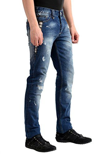 "Philipp Plein ""Illegal Fight Club"" Men's Straight Cut Jeans"