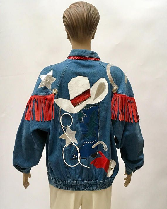 Denim Jacket Opal Country Western Texas Cowboy Blue Jean Jewel