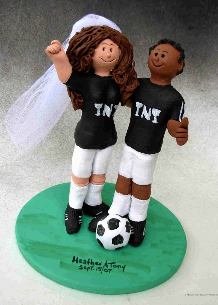 Soccer Player's Wedding Cake Topper http://www.magicmud.com   1 800 231 9814  magicmud@magicmud.com  $235   https://twitter.com/caketoppers         https://www.facebook.com/PersonalizedWeddingCakeToppers   #wedding #cake #toppers #custom #personalized #Groom #bride #anniversary #birthday#weddingcaketoppers#cake-toppers#figurine#gift#wedding-cake-toppers  #soccer#soccerPlayer#soccerBride#FIFA#football