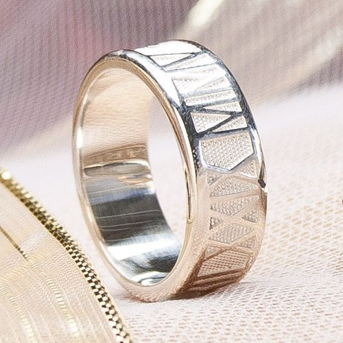 Roman Numeral Band (6mm and 8mm widths) - A wonderfully unique wedding or anniversary ring, personalized with your wedding date. Offered in Platinum, Palladium, 18k, 14k, & 10k gold, and sterling silver.