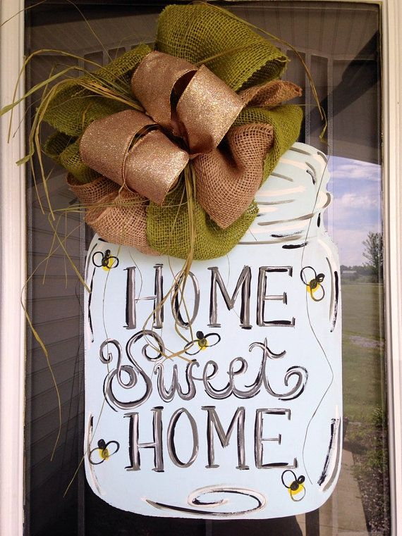Mason Jar Handpainted Door Hanger with Bow by TartsbyMiranda
