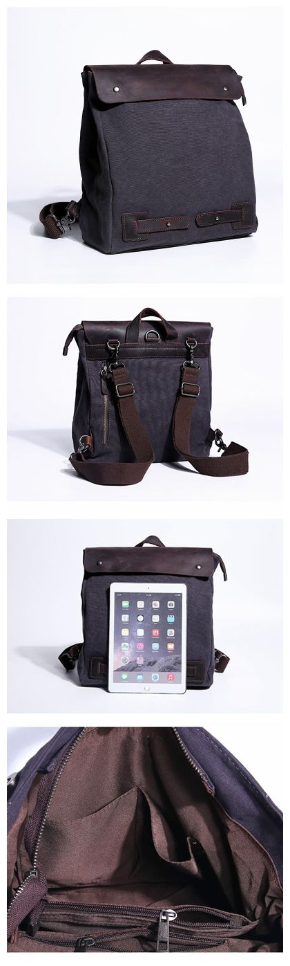WAXED CANVAS BACKPACK, VINTAGE BACKPACK, WAXED CANVAS RUCKSACK, LAPTOP BAG, MENS / WOMAN BACKPACK JC031