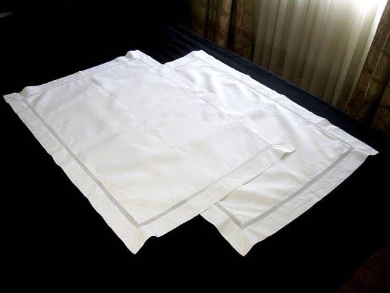 Vintage Pair White Linen Pillow Shams, Antique Pillow Cases